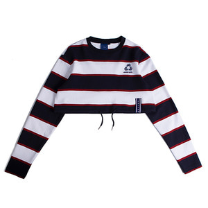 Stripe Crop Sweat Shirt_Navy