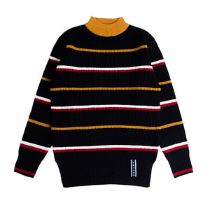 Stripe Mid Neck Knit_Navy