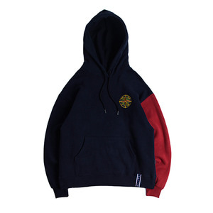 Color Block Wide Hoodie_Navy