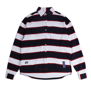 Stripe Cotton Shirt_Navy
