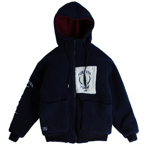 Heavy Fleece Hood Zip Up_Navy