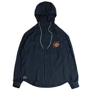 Striped Hood Shirt_Navy