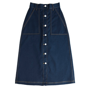 Cotton Long Skirt_Navy
