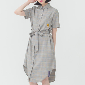 Glen Check Button Dress