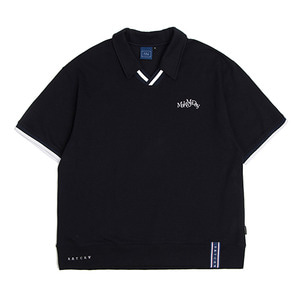 Neckline Band Collar T Shirt_Navy