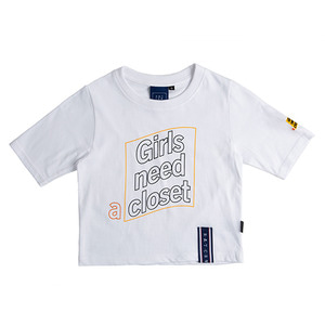Post Logo Crop T Shirt_White