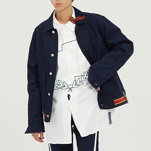 Color Tape Trucker Jacket_Navy