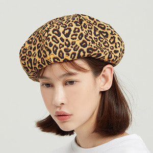 Leopard Newsboy Cap_Brown
