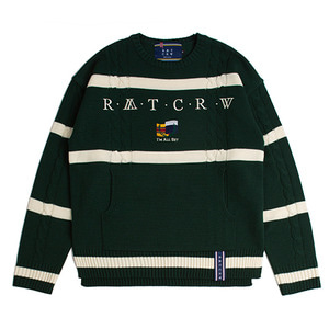 Round Neck Cable Knit_Green