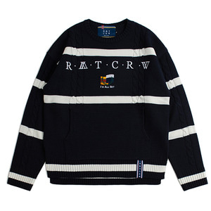 Round Neck Cable Knit_Navy