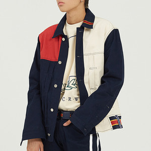 Color Block Trucker Jacket_Navy