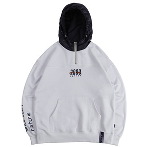 ALL SET Half Zip Up Hoodie_White