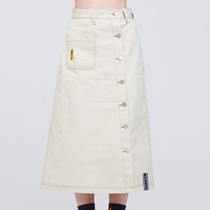 Front Pocket Cotton Skirt_Beige