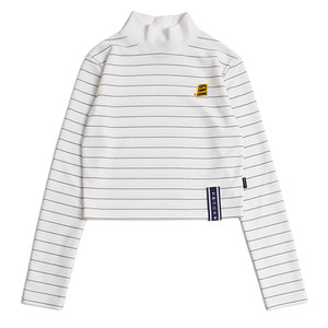 Stripe Knit Turtleneck_White