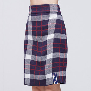 Tartan Check Knit Skirt_Navy