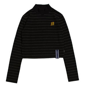 STRIPE KNIT TURTLENECK_BLACK
