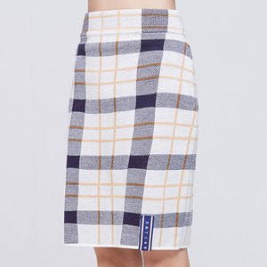 TARTAN CHECK KNIT SKIRT_OATMEAL
