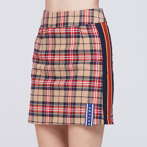 BAND LINE CHECK SKIRT_BEIGE