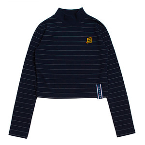 Stripe Knit Turtleneck_Navy