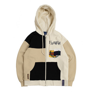 Color Block Hood Zip Up_Oatmeal