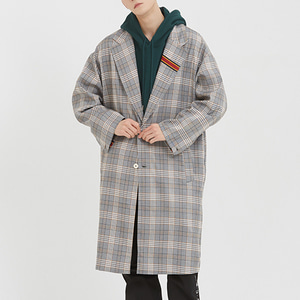 Striped Lapel Check Coat_Black