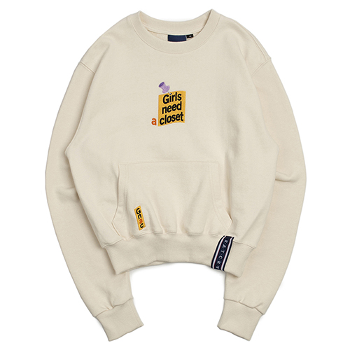 Post Logo Pocket Sweat Shirt_Oatmeal