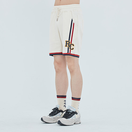 RC DOUBLE LINE HALF PANTS_OATMEAL