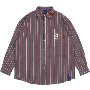 90S STRIPED SHIRT_BURGUNDY
