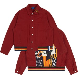 JACQUARD TRUCKER JACKET_BURGUNDY