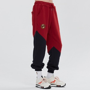 COLOR BLOCK LOGO SWEAT PANTS_BURGUNDY