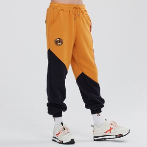 COLOR BLOCK LOGO SWEAT PANTS_YELLOW