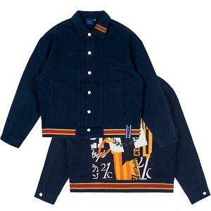 JACQUARD TRUCKER JACKET_NAVY