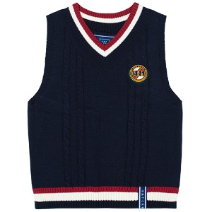 V NECK CABLE KNIT VEST_NAVY