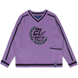 21C BOYS V NECK KNIT_PURPLE