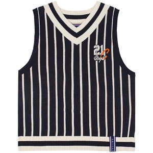 [1/29 예약발송]V NECK STRIPE VEST_NAVY