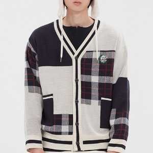 SQUARE CHECK KNIT CARDIGAN_OATMEAL