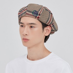 OLD CHECK NEWSBOY CAP_BEIGE