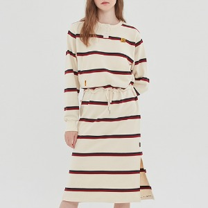 GNAC STRIPE POCKET DRESS_OATMEAL