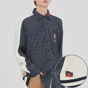 STRIPED REVERSE KNIT SHIRT_NAVY
