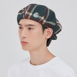 OLD CHECK NEWSBOY CAP_GREEN