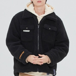 HUNTER BIG COLLAR FLEECE JACKET_BLACK