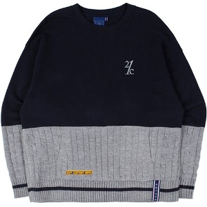 MIX FABRIC SWEATSHIRT_NAVY