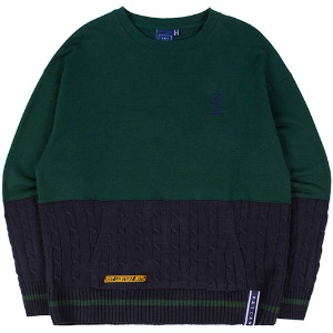 MIX FABRIC SWEATSHIRT_GREEN