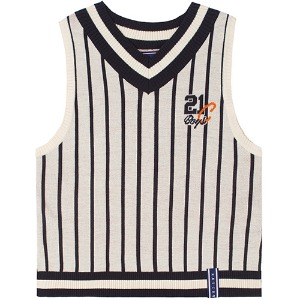 V NECK STRIPE VEST_OATMEAL