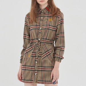 OLD CHECK SHIRT DRESS_BEIGE