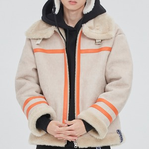 COLD WAVE MOUTON JACKET_OATMEAL