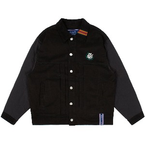 QUILTING TRUCKER JACKET_BLACK
