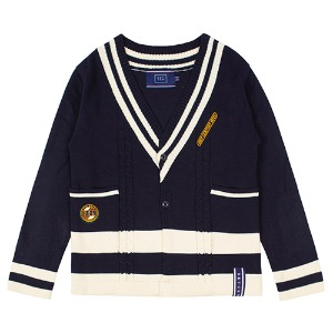 V NECK POCKET KNIT CARDIGAN_NAVY