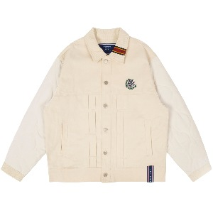 QUILTING TRUCKER JACKET_OATMEAL