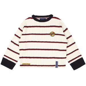 STRIPE CABLE KNIT_OATMEAL